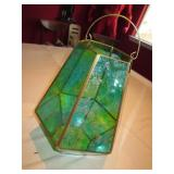 "12"" Blue/Green Glass Hanging Plant Holder"