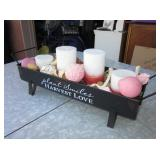 """Plant Smiles Harvest Love"" Candle Centerpiece"