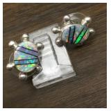Hallmarked Sterling Silver & Opal Inlay Earrings
