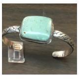 Sterling & Cerrillos Turquoise Cabachon Bracelet