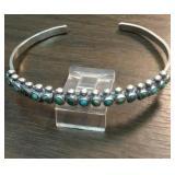 Vintage Sterling& Petite Point Turquoise Bracelet