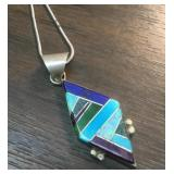 Hallmarked Sterling Diamond Channel Inlay Pendant
