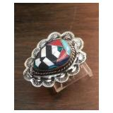 Vintage Navajo S.S. Multistone Inlay Ring