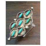 Vintage Zuni Sterling & Petite Point Turq. Ring