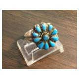Vintage S.S. Zuni Petite Point Turquoise Ring