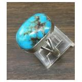 Sterling & Blue Diamond Turquoise Native Ring