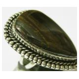 Tiger Eye 925 SS Plated Ring