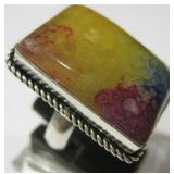 Agate Geode Slice 925 SS Plated Ring - Size 7.5
