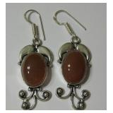 "2.4"" Carnelian 925 SS Plated Earrings"
