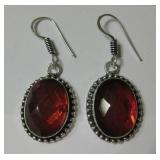 "1.7"" Garnet Quartz 925 SS Plated Earrings"