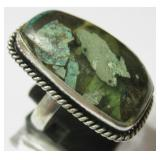 Copper Chrysocolla 925 SS Plated Ring