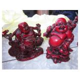 "Lot of 2-4"" Red Buddha Statues"