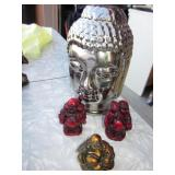 "3 Mini 2"" Buddhas, 6"" Silver Chrome Buddha"