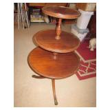 "3 Level 38"" Antique Claw Foot Side Table"