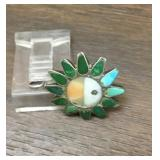 Vintage Sterling Silver Multi Stone Inlay Pendant
