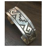 Vintage Handmade Native Sterling Cuff Bracelet