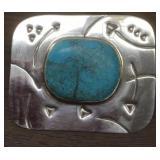 Vintage Sterling Silver & Utah Turquouise Brooch