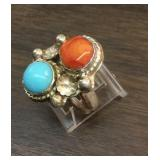 Sterling , Turquoise , Coral Southwestern Ring