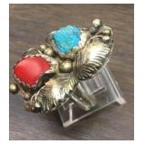 Vintage Sterling Silver  Turquoise & Coral Ring