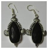 "2.4"" Garnet Quartz 925 SS Plated Earrings"