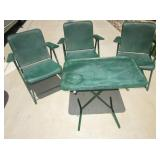 Folding Green Metal MCM Patio Set