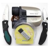 Sharper Image Binoculars, 2 Folding Knives, etc...