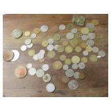 Lot Of World Coins & Wooden Nickels