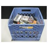 Plastic Milk Crate w/ Assorted Cassette Tapes