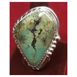 Sterling & Turquoise Southwestern Ring 27G