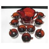 Ruby Red Glass Pitcher w/ 9 Cups
