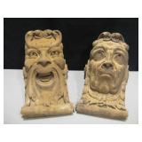 Lot Of 2 Cast Ceramic Face Corbels / Shelves