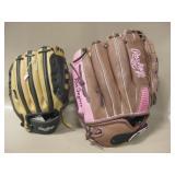 2 Rawlings Baseball Gloves