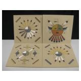 "Lot Of 4 Signed NA Style Sand Paintings 12"" x 12"""