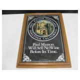 Vtg Wood Framed Paul Masson Wine Mirror