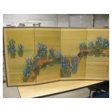 Vtg 4-Panel Japanese Silk Screen Table Divider