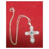 Vtg Sterling Silver & Opal Cross Necklace