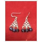 Sterling & Blue Sandstone Dangle Earrings