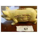 """Vintage Cast Iron Piggy Bank 6"""""""