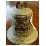 """Vtg Liberty Bell Bank Cast Iron 4"""" Tall"""