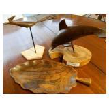 Wood Decor Lot Dolphin, Roadrunner, Leaf