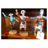 """3 Kachinas Signed C.W. HIll About 10"""" Tall"""