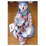 """Native 5"""" Tall Story Teller Doll Signed Lucaro"""