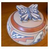"""Jemez Pueblo Pottery Butterfly Lid Bowl 3"""""""