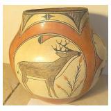 1940s Zia Pueblo She-He Family Deer Pottery Vessel