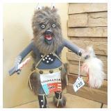 "Native 14.5"" Tall Wolf Dancer Kachina Signed"