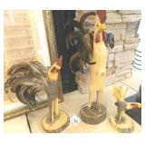 Collection Of Signed Carved Wood /Feather Chickens