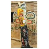 """41"""" 1960s Carved Sea Eagle Pacific Northwest Totem"""