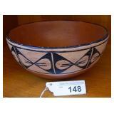 50s-60s Santo Domingo Pottery Chili Bowl Signed