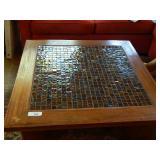 "34"" Glass Tile & Wood Inlay ""X"" Base Coffee Table"