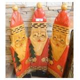 """3 Carved Wood Santas 39.5"""" X 24"""" Wide"""